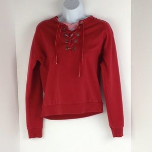 Red Sweatshirt w/ Velvet Ribbon Lace Up Front
